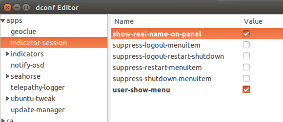 show username on ubuntu panel