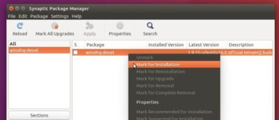install wine via Synaptic Package Manager