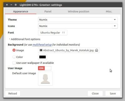 Lightdm GTK+ greeter appearance