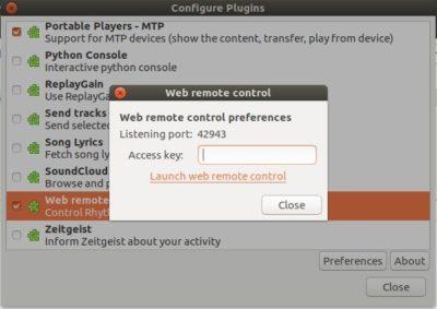 Rhythmbox web control