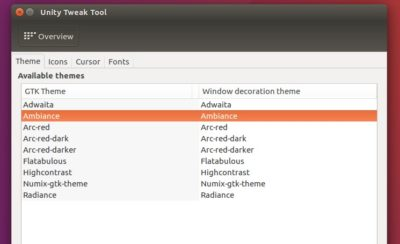 change theme in Ubuntu