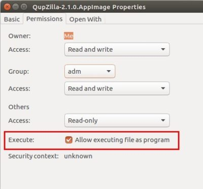 make qupzilla executable